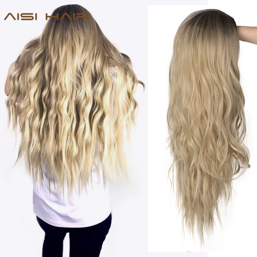 AISI HAIR 24 Inches Ombre Blonde Wig Synthetic Long Wavy Wigs For Women Two Tone Natural Middle Part Wig