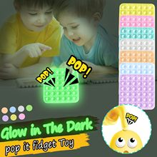Pop luminoso ele fidget unzip brinquedos brilho no escuro popit silicone brinquedos anti stress alívio brinquedo empurrar pop bolha figet