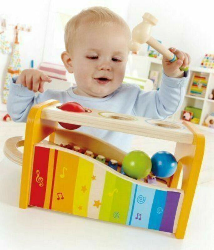 Hape Wooden Musical Instruments Pound And Tap Bench Hammer Ball Xylophone Toy Musical Instrument