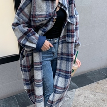 Blue Plaid Trench Coat Women 2020 Spring Autumn New Casual Korean Fashion Lapel
