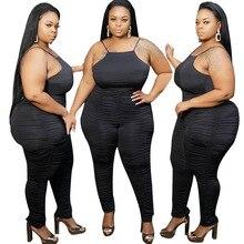 Big Beautiful Women Summer Jumpsuit Pleated Rompers Plus Size Bodysuit Playsuit