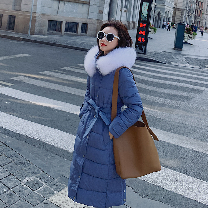 2019 New Solid Women's Down Jacket Winter Down Coat Long Style Thicker Than Knee And Waist Slim Casual Warm Parka Snow Outwear