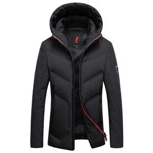 Image 2 - 2019 긴 다운 재킷 후드 남성 겨울 코트 모자 회색 오리 잘 생긴 품질 편안한 패션 인과 따뜻한 outwear