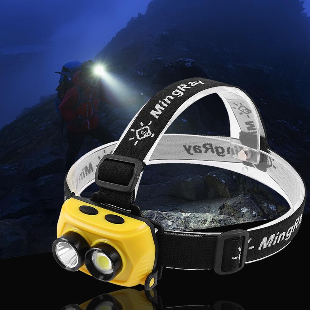 MINGRAY 3W LED Headlight aaa battery q5 COB adjustable head band mini lamp Camping Running Fishing frontal headlamp super bright