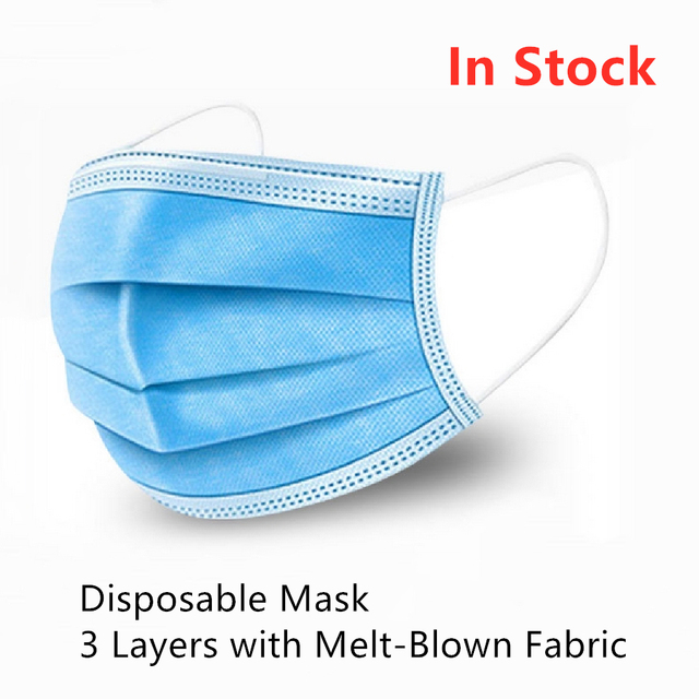 Disposable Mask Anti Dust Gas Pollution Flu Virus Meltblown Cloth Fabric Face Mouth Mask Blue Kid Men Women PM25 PM2.5 Wholesale