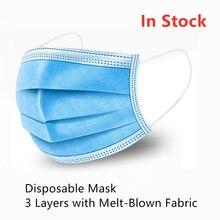 מסכה חד פעמית אנטי אבק גז זיהום שפעת וירוס Meltblown בד בד פנים פה מסכת כחול ילד גברים נשים PM25 PM2.5 סיטונאי