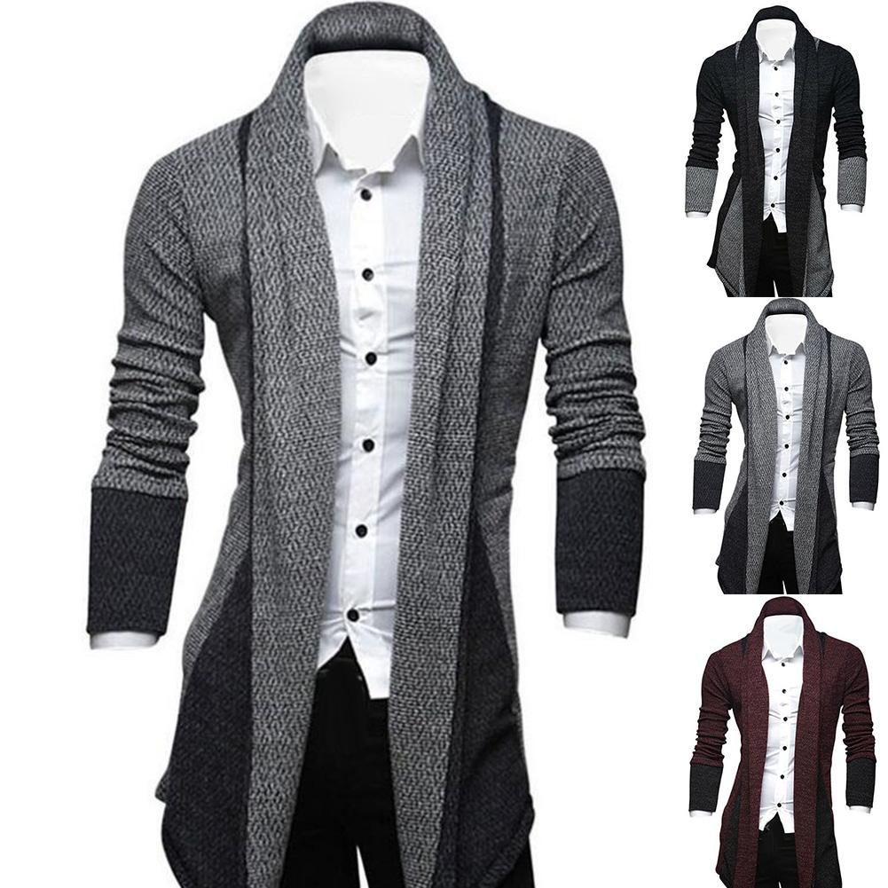 Men Long Sleeve Color Block Patchwork Knitted Loose Plus Size Long Coat Cardigan