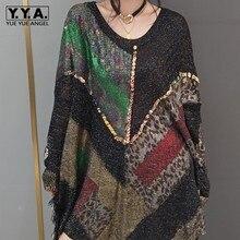 Модное вязаное платье-рубашка, уличное платье-свитер с рукавом летучая мышь, V-образным вырезом и леопардовым принтом, черный Свободный пуло...