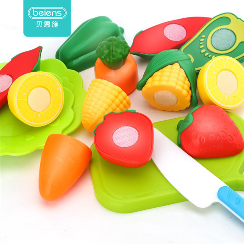 Beiens 10Pcs Set Kids Kitchen Toy Plastic Fruit Vegetable Food Cutting Early Educational Children Toys Pretend Role Play Toy