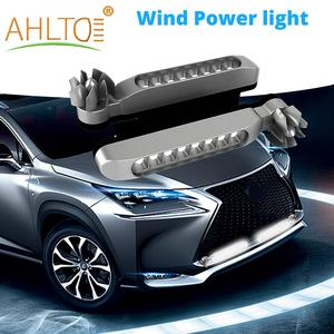 2X Wind Powered Car DayTime Running Lights 8LED Rotation Fan Daylight No Need External Power Supply Auto Decorative Lamp DRL Led