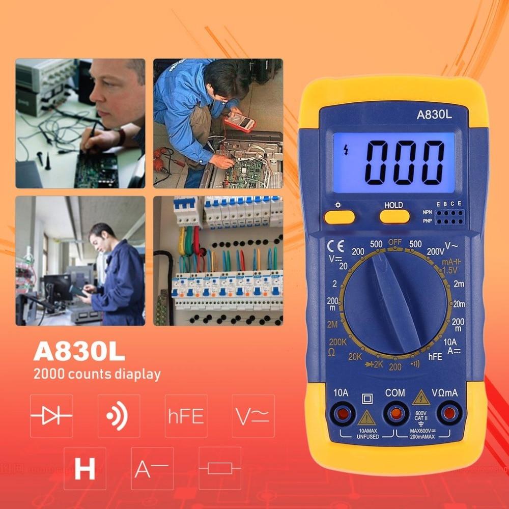 A830L Backlight Digital LCD Multimeter Voltmeter Ammeter AC DC Diode Resistence OHM Volt Tester Test Current Data Hold