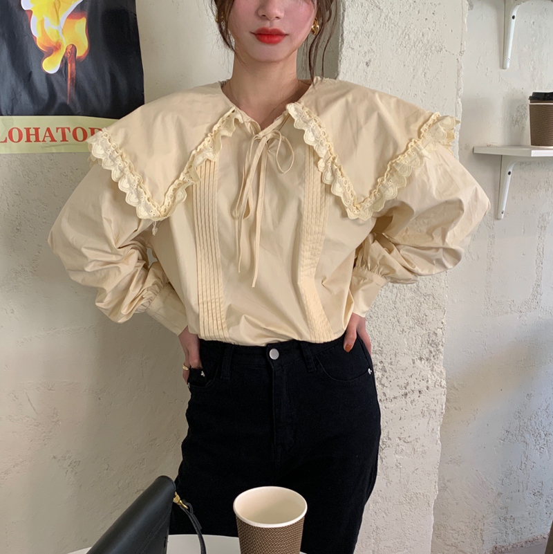 H415a9bba0f464dfab608574e602629ca5 - Spring / Autumn Lace-Up Collar Long Sleeves Loose pleated Solid Blouse
