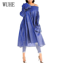 WUHE Sexy Casual Denim Dress Midi Autumn Outfits for Women Elegant Off Shoulder Long Sleeve Side Pocket Femme Loose Dresses