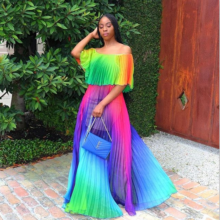 Women Gradient Pleated Dress Ladies Short Sleeved Tie Dye Chiffon Maxi Dress 2019 Summer Sexy Off Shoulder Bohemian Dresses in Dresses from Women 39 s Clothing