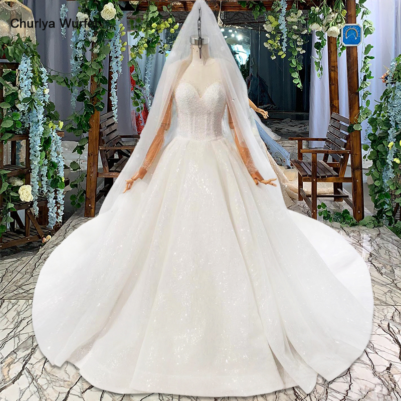 HTL823 Shiny Ball Gown Wedding Dresses With Bridal Veil Illusion O-neck Long Wedding Gowns With Sleeves Vestido De Noiva 2019