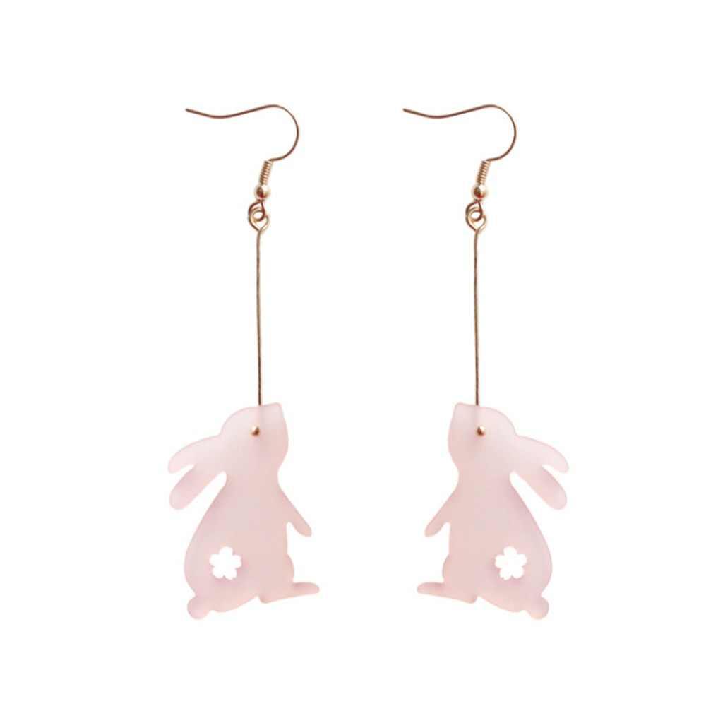 1 คู่/เซ็ตแฟชั่น Kawaii Silver สัตว์น่ารักกระต่าย Dangle Studs ต่างหู Dangle เครื่องประดับอัญมณีสีชมพูต่างหูผู้หญิง