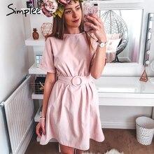 Simplee High waist women short dress Belt batwing sleeve female summer dress Streetwear lady o neck chic solid pink casual dress