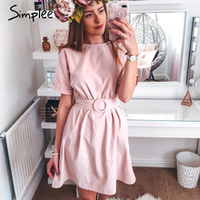 Simplee vestido curto de cintura alta, feminino, manga morcego, vestido de verão, streetwear, gola redonda, chique, cor lisa, rosa, casual