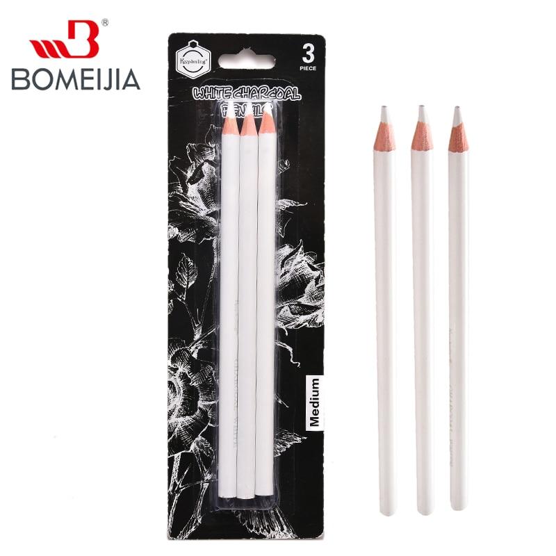 3Pcs White Sketch Charcoal Pencils Set Professional Standard Pencil Drawing Pencils Set For School Tool Painting Art Supplies