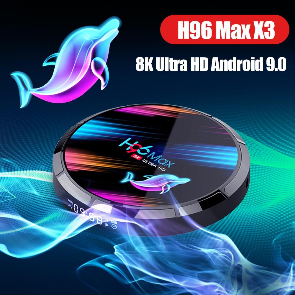 H96 Max X3 Android 9.0 8K TV Box Amlogic S905X3 64-bit Quad Core 8Kx4K@24 Fps 4Kx2K@30fps 4G 128G Set-top Box SmartTV Box