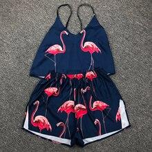 Ladies Pajama Set Cute Animal Print Sleepwear Silk V Neck Sexy Pijama Satin Night Home Suits Wear Sleeveless Top And Shorts