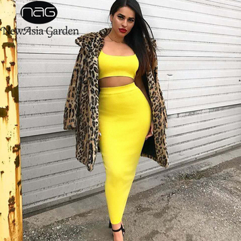 NewAsia Ribbed Knit 2 Piece Set Women Sexy Crop Top Midi Skirt Set Bodycon Party Two Piece Set Neon Matching Sets Club Outfits marled knit crop top with split skirt