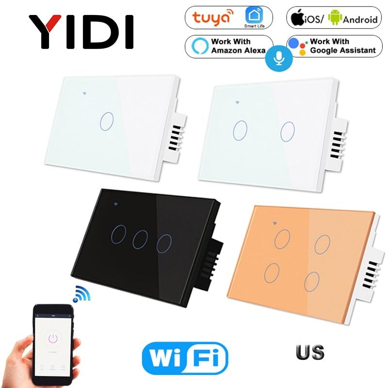 US WIFI Smart Touch Switch 1 2 3 4 Gang Wall Light Wireless Remote Control Switch 220V 1 2 3 Way Tuya Smart Home Alexa GoogleSwitches   -