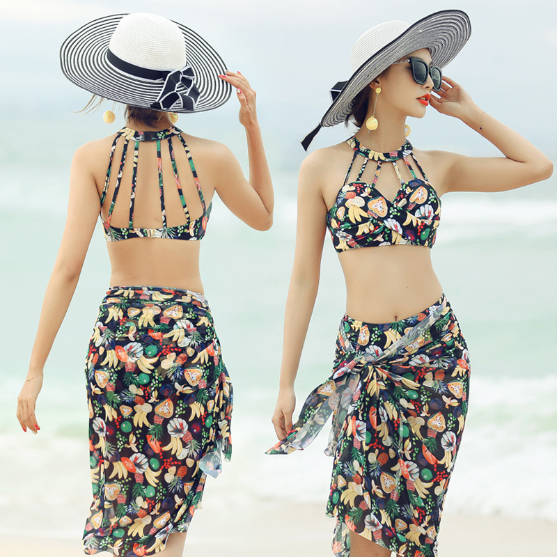 2019 New Style Online Celebrity Sexy Floral Bikini Veils Slimming Three-piece Set Swimming Suit Hot Springs Bathing Suit Women's