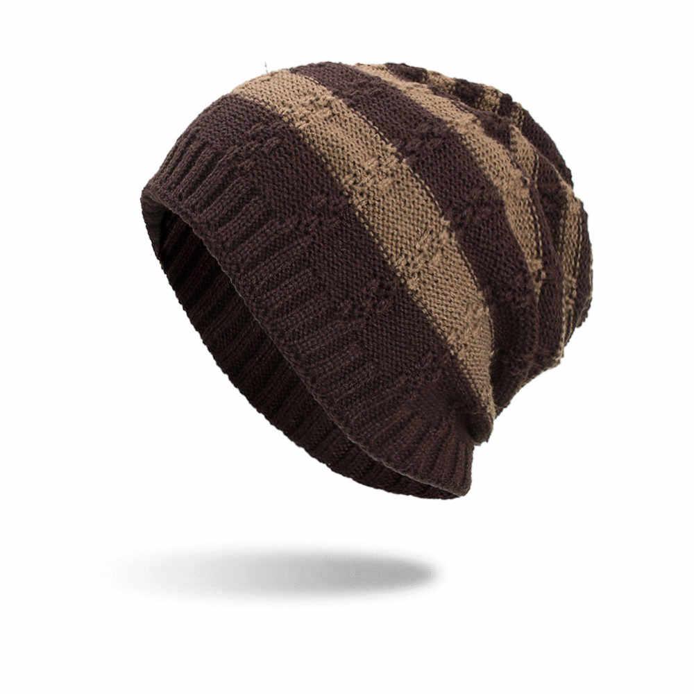 Erkek bere şapka kadın erkek Baggy örgü örme tığ sonbahar kış sıcak şapkalar açık rahat yumuşak kayak Bonnet kadın kalça -hop kap