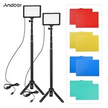 Andoer USB LED וידאו אור ערכת צילום תאורת 3200K 5600K 14 רמת Dimmable עם 148cm/58in מתכוונן גובה חצובה Stand