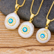 Trendy Cross Heart Gold Chain CZ Pendant Choker Necklace Charm Natural Coin Pearl Bead Zircon Evil Eye Women Jewelry Necklace n090612 21 white keshi pearl necklace cz pendant