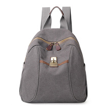 Vintage neutral canvas shoulder bag durable men women black gray khaki 6 colors ipad capable small backpack