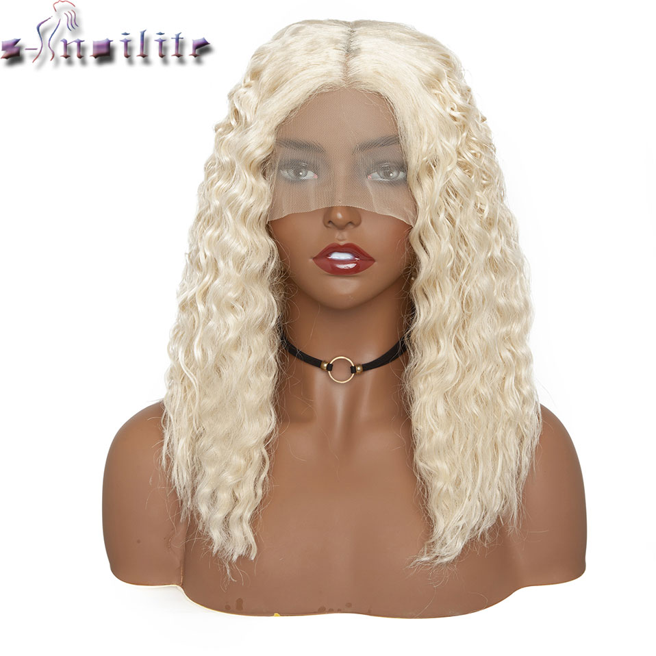 S-noilite 14inch Kinky Curly Blonde Lace Front Bob Wig Deep Part 4*0.6 Brazilian Hair Wig Synthetic Short Bob Wig Lace Front