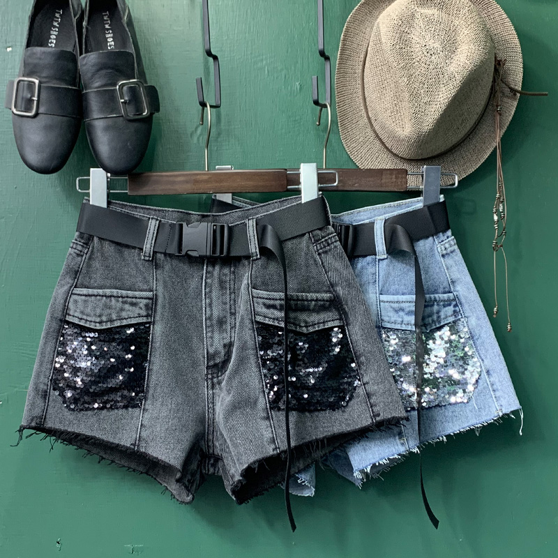 Sequined High Waist Denim Shorts Women 2020 Summer New Fashion Straight Jeans Shorts