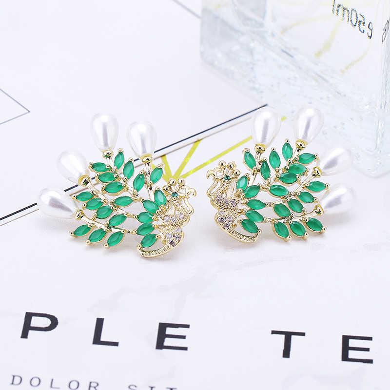 SEHR MÄDCHEN Exquisite Luxus Peacock Imitation Perle Großen Gestüt Ohrringe Für Frauen Hochzeit Cubic Zirkon CZ Dubai Braut Ohrringe