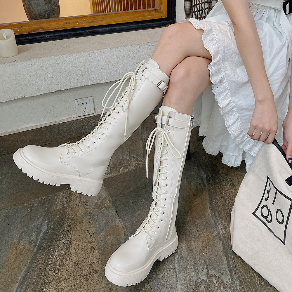 2021 Summer New Knight Boots Net Retro College British Style Thick Bottom Thick Heel Motorcycle Boots Fashion