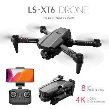 New LS-XT6 Mini RC Drone UAV Quadrocopter WiFi FPV with HD Dual Camera 4K Altitude Hold Foldable Four-Axis Aircraft JIMITU 2020 new quadcopter with high definition camera fpv uav small unmanned aerial v uav stabilization professional 4k uav drone gps
