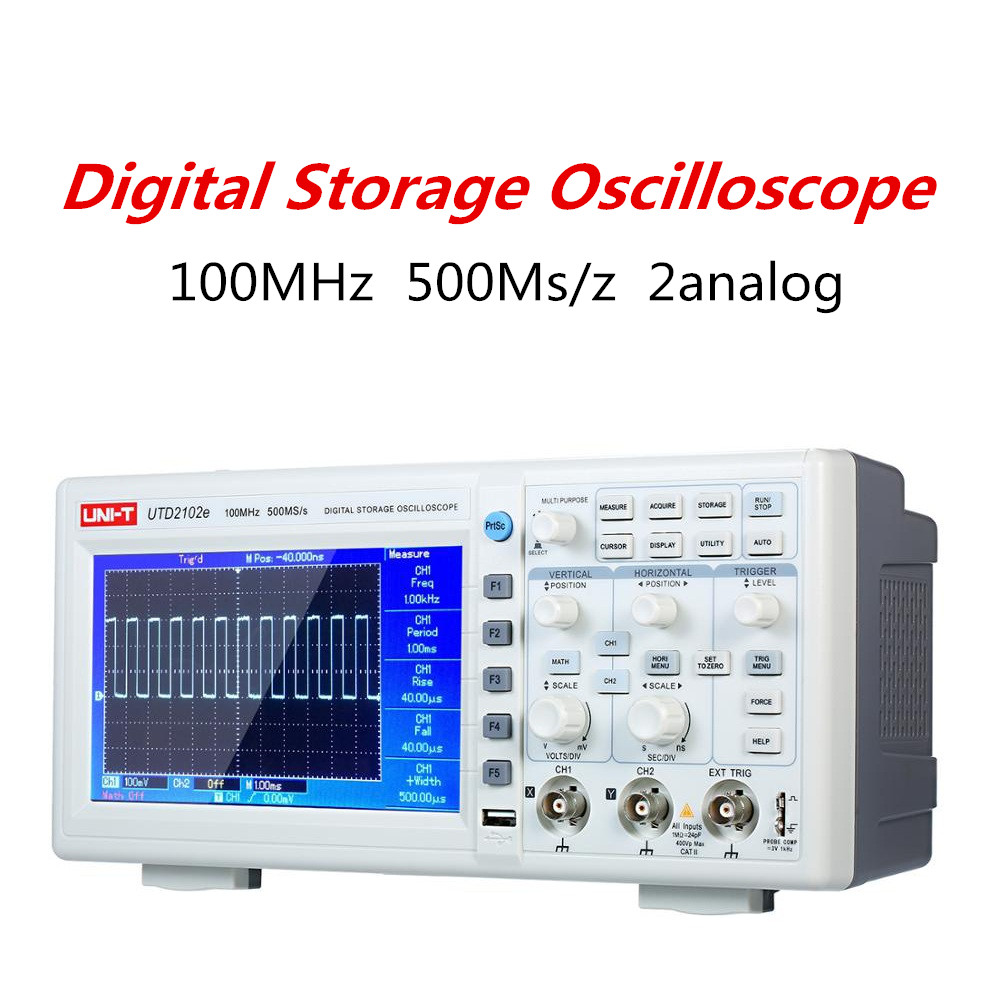 UNI-T UTD2102e Bench Digital Storage <font><b>Oscilloscope</b></font> <font><b>100MHz</b></font> Bandwidth 500Ms/z Dual Channel Reliable Electronic Measuring Tool image