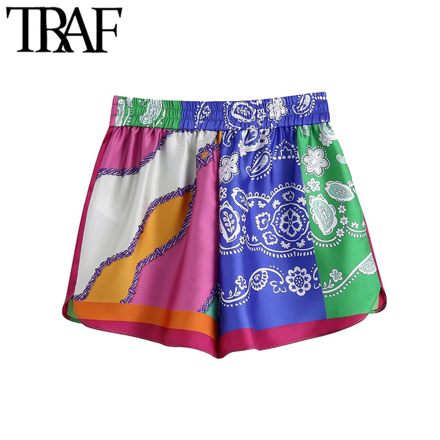 TRAF Women Chic Fashion Patchwork Printed Shorts Vintage High Elastic Waist With Drawstring Female Short Pants Mujer 2