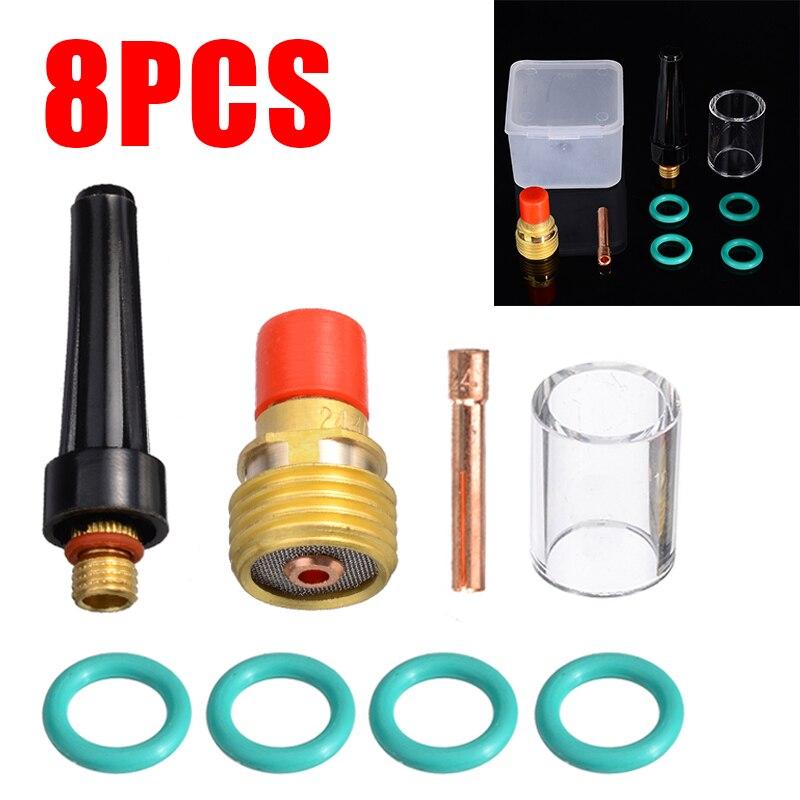 8 stücke Schweißen Zubehör 2,4mm Schweißer Gas Objektiv Pyrex Tasse Kit Für Tig WP-9/20/25 3/32