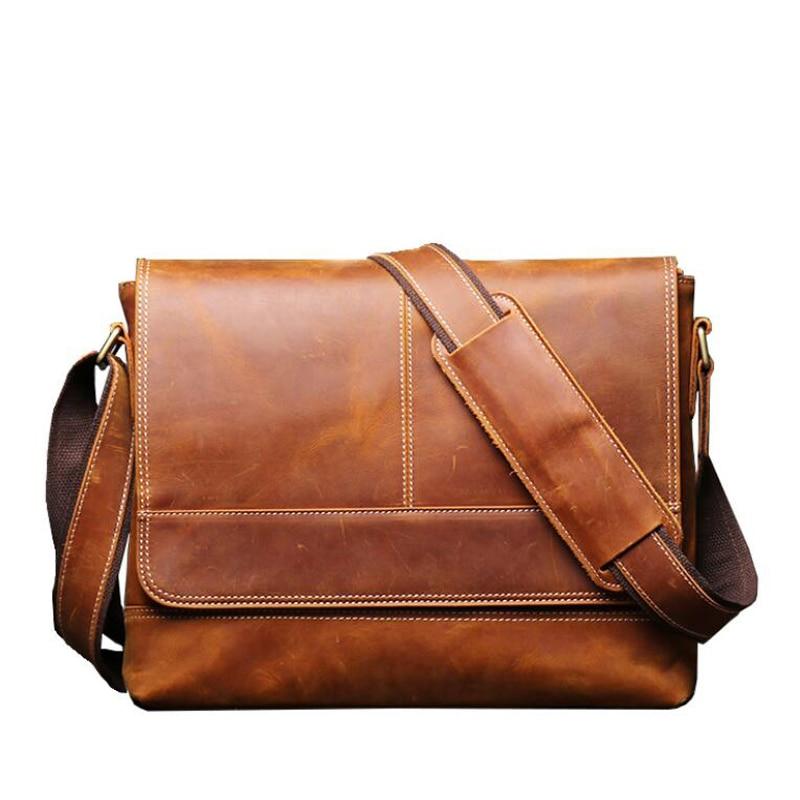 Messenger Bag Men's High Quality Genuine Leather Crossbody Bags Male Briefcase Shoulder Bag For Men Retro Natural Leather Bag
