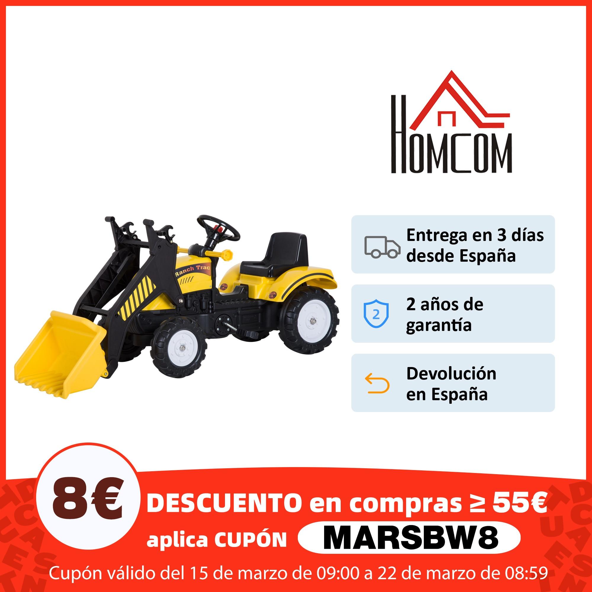 HOMCOM Tractor Pedal Excavadora Camión + Pala Delantera para Niños 3 6 Años Juguete de Montar Coche Pedales 114x41x52cm Coches para montarse  - AliExpress
