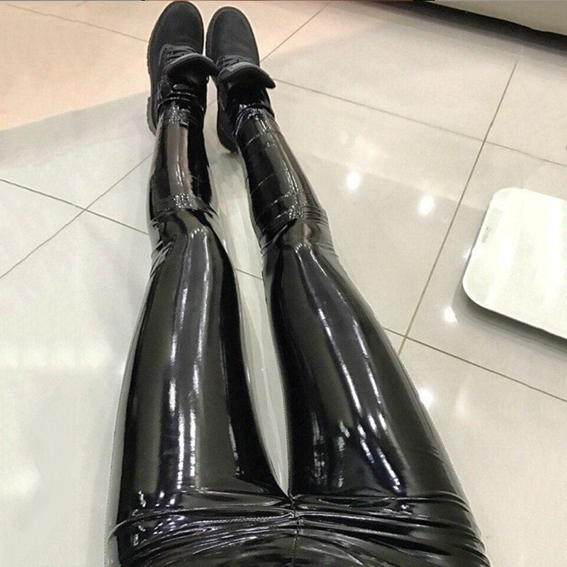Women PU Leather Leggings 2019 Sexy Slim High Waist Leggings Mujer Push Up Fashion Casual Pants