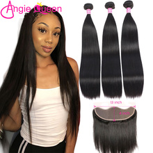 Hair-Extension Frontal Straight-Bundles QUEEN Brazilian100%Human-Hair with 3--1 3--1