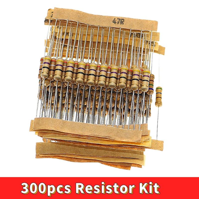 Комплект резисторов 300 шт. 1 Вт 5% 30 значений X 10 шт. углеродная пленка сопротивление 0,1-750 Ом набор