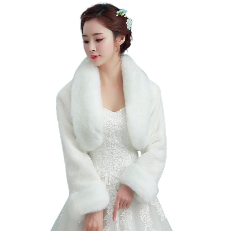 Womens Vintage White Plush Bridal Wrap Stole Shawl Long Sleeve Evening Party Cape Shrug Princess Thickened Warm Wedding Jacket