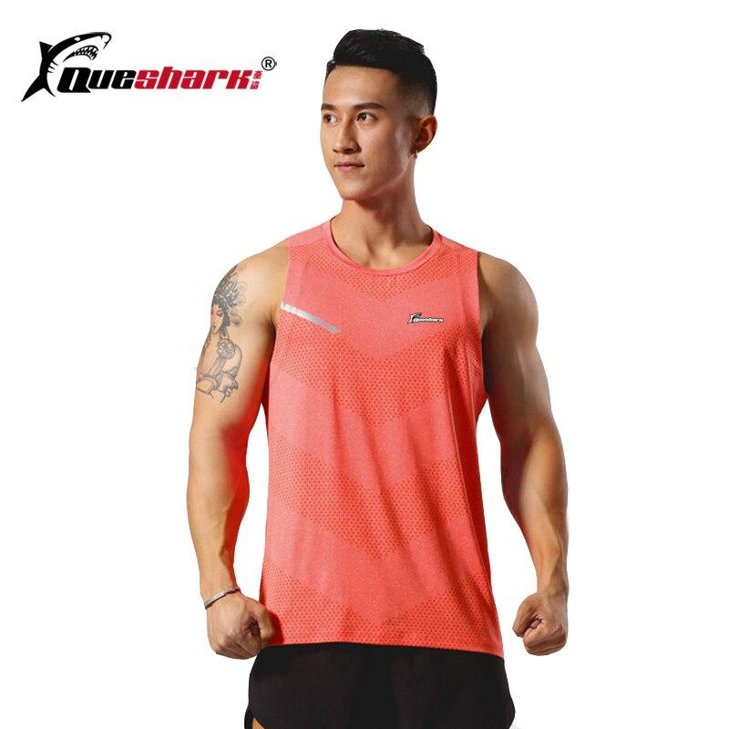 QUESHARK Men Running Vest Quick Dry Sleeveless Marathon Jogging Shirt  Outdoor Fitness Loose Tops Training Underwaist Tees