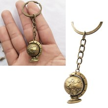Charms Globe Long Chain Keychain Alloy Plated Mens Key Ring Vintage Style Earth World Map Art Bag Pendant Car Key Chain Jewelry(China)