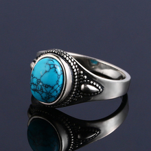 925 Sterling Silver Ring Natural Turquoise Rings for Women Men Vintage Style Fine Jewelry Engagement Party Ring Gift