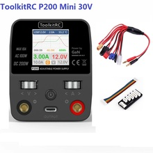 NEW ToolkitRC P200 Mini 30V AC100W DC200W 10A GaN Adjustable Mini Desktop Power Supply USB Output